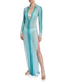 Missoni Mare Striped Long-Sleeve Collared Coverup Dress at Neiman Marcus