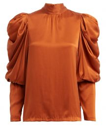 Missy Balloon Sleeve Silk Blouse by Notes du Nord at Intermix