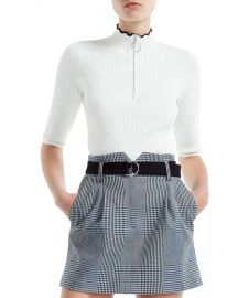 Misty Ribbed Zip-Detail Sweater by Maje at Bloomingdales