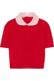Miu Miu   Lace-trimmed cable-knit cashmere and silk-blend sweater at Net A Porter