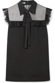 Miu Miu   Pussy-bow point d esprit tulle-paneled crepe de chine blouse at Net A Porter
