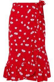 Miu Miu   Ruffled printed crepe wrap skirt at Net A Porter