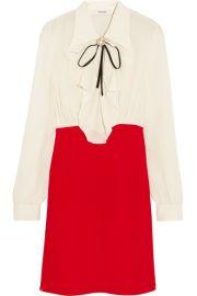 Miu Miu   Ruffled silk crepe de chine mini dress at Net A Porter