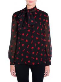 Miu Miu - Strawberry   Cherry Print Tie-Neck Blouse at Saks Fifth Avenue