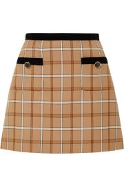 Miu Miu - Velvet-trimmed checked woven mini skirt at Net A Porter