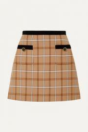 Miu Miu - Velvet-trimmed checked woven mini skirt at Net A Porter