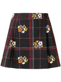 Miu Miu Floral Grid Mini Skirt at Farfetch