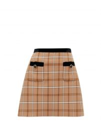 Miu Miu High Rise Velvet and Check Skirt at Matches