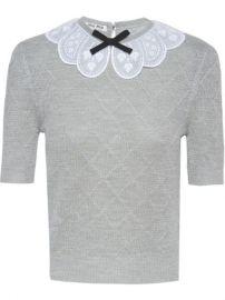 Miu Miu Scalloped Collar Knitted Top - Farfetch at Farfetch