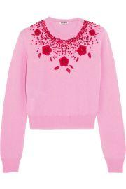 Miu MiuandnbspandnbspEmbellished cashmere sweater at Net A Porter