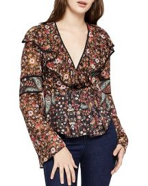 Mixed print top at Bloomingdales