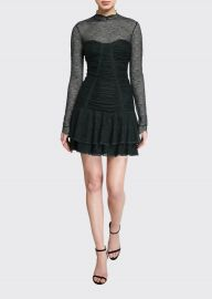 Mixed Silk Lace Mock-Neck Ruched Dress at Bergdorf Goodman