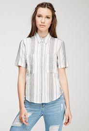 Mixed Stripe Linen-Blend Shirt  Forever 21 - 2000132581 at Forever 21