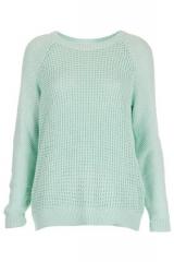 Mixed knit slouchy jumper at Topshop