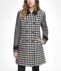 Mixed pattern swing coat at Express