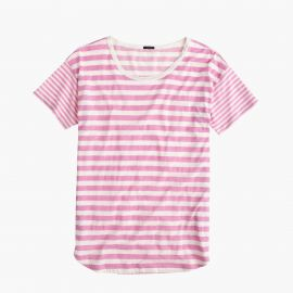 Mixed-stripe vintage cotton T-shirt with rounded hem in Carded Sunwashed Peony at J. Crew