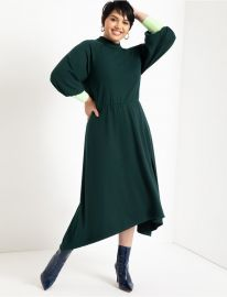 Mock Neck Dress with Contrast Cuff at Eloquii