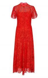 Mock-Neck Lace Midi Dress at Moda Operandi