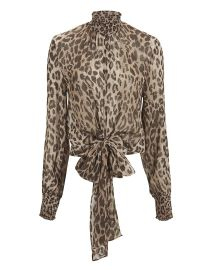 Mock Neck Leopard Blouse by Nicholas at Intermix
