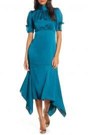 Mock Neck Puff Sleeve Satin Asymmetric Hem Midi Dress at Dillards