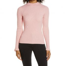 Mock Neck Ribbed Long Sleeve Sweater at Nordstrom