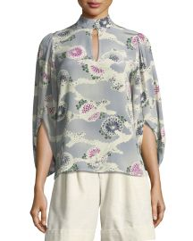 Mock-Neck Silk Kimono Blouse at Bergdorf Goodman