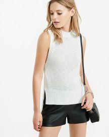 Mock neck knit sleeveless sweater at Express