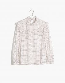 Mockneck Ruffle Top in Flocked Dot at Madwell
