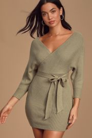 Modena Sage Green Dolman Sleeve Bodycon Sweater Dress at Lulus