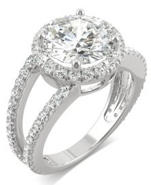 Moissanite Round Split Shank Halo Ring at Macys