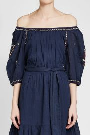 Monae Embroidered Cotton Dress by Velvet by Graham & Spencer at Stylebop
