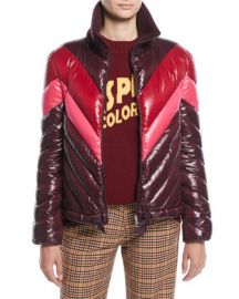 Moncler Albatros Tricolor Puffer Jacket w  Knit Collar at Neiman Marcus