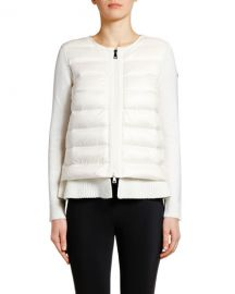 Moncler Double-Layer Knit  amp  Puffer Cardigan at Neiman Marcus
