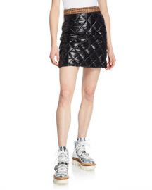 Moncler Quilted Down-Fill Skirt w  Plaid Trim at Neiman Marcus
