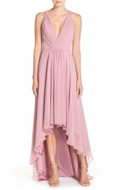 Monique Lhuillier Bridesmaids Deep V-Neck Chiffon High Low Gown at Nordstrom