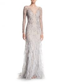 Monique Lhuillier Embellished Long-Sleeve Illusion Evening Gown with Feather Skirt at Neiman Marcus