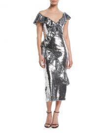 Monique Lhuillier Illusion-Neck Slim Tea-Length Cocktail Dress w Asymmetric Ruffle Detail at Neiman Marcus