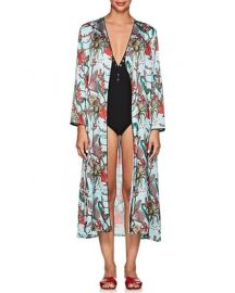 Monkey  Floral Satin Robe by LoboRosa at Barneys