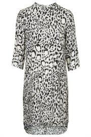 Monochrome Animal Print High Neck Dress at Topshop
