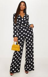 Monochrome Polka dot Jumpsuit on The Real at Pretty Little Thing