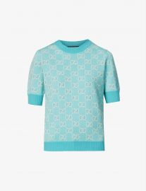 Monogrammed wool and cotton-blend knitted top at Selfridges