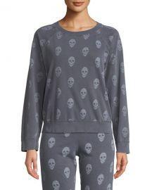 Monrow Vintage Skull-Print Raglan Pullover Sweater at Neiman Marcus
