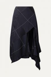 Monse - Asymmetric paneled satin and crepe midi skirt at Net A Porter