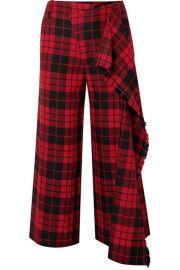 Monse - Cropped tartan wool wide-leg pants at Net A Porter
