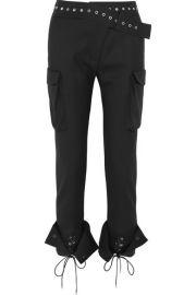 Monse   Eyelet-embellished wool-blend skinny pants at Net A Porter