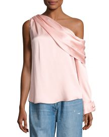 Monse One-Shoulder Long-Sleeve Draped Top  Blush   Neiman Marcus at Neiman Marcus