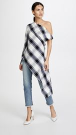 Monse Plaid One Sleeve Blouse at Shopbop