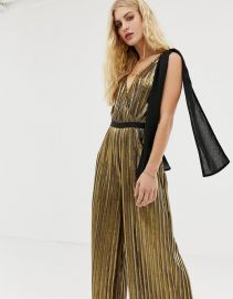 Moon River metallic wide leg jumpsuit with bow shoulders   ASOS at Asos