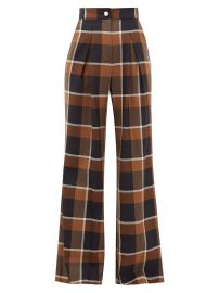 Moon checked wool-blend wide-leg trousers by Staud at Matches