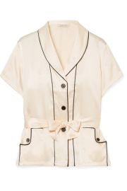 Morgan Lane - Charlotte belted silk-charmeuse pajama top at Net A Porter
